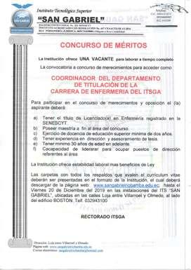 COORDINADOR DE TITULACION CARRERA ENFERMERIA