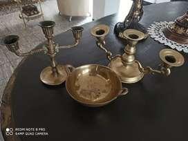 Paila y candelabros en bronce!