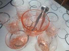 6 Vasos de Cristal Tallados con Hielera
