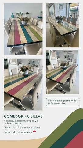 Elegante comedor de madera y aluminio importado de Indonesia y 8 sillas