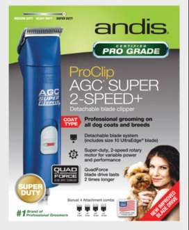 Maquina Andis Agc Super 2 Velocidades, Azul, Veterinaria Perro, Nuevo