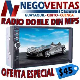 RADIO DOBLE DIN MP5 BT , USB , AUX , SD OPCION CAMARA DE RETRO