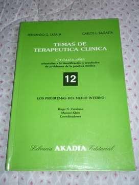 TEMAS DE TERAPEUTICA CLINICA 12 LOS PROBLEMAS DEL MEDIO INTERNO . LASALA Y SAGASTA LIBRO MEDICINA