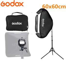 Kit Softbox Godox 60x60cm + Bracket Tipo S Bowens Flash