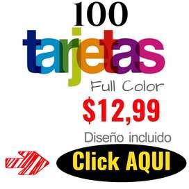 Tarjetas de Presentacion Brillo UV Full Color x 100