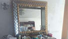 Espectacular Vintage Espejo De Pan De Oro Italiano