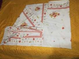 VENDO 5 MANTELES DE ALGODÓN, * MANTEL ALGODÓN 2.50 mt x 1.50 mt. color blanco con guarda y flores/  *M