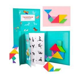 Tamgram didáctico madera magnético +libro 96 figuras