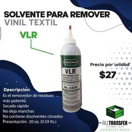 Solvente ara remover vinil textil VLR de 20oz.(0.59lts), de all transfer