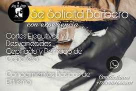 Solicitamos Barbero con amplia experiencia. Residenciado al Norte de Guayaquil