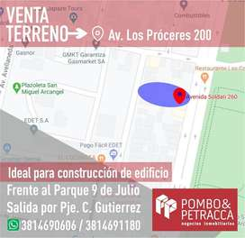 VENTA TERRENO FTE. PARQUE 9 DE JULIO, IDEAL PARA EDIFICIO