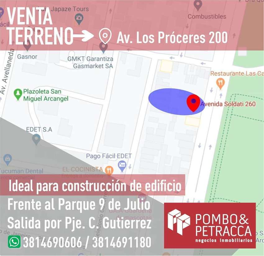 VENTA TERRENO FTE. PARQUE 9 DE JULIO, IDEAL PARA EDIFICIO 0