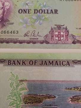 Par de billetes antiguos de Jamaica 1985
