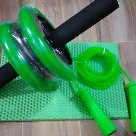 Kit rueda abdominal siliconada +tapete + lazo siliconado