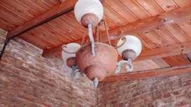 2 LAMPARAS DE TECHO DE METAL RUSTICAS DE 3 LUCES