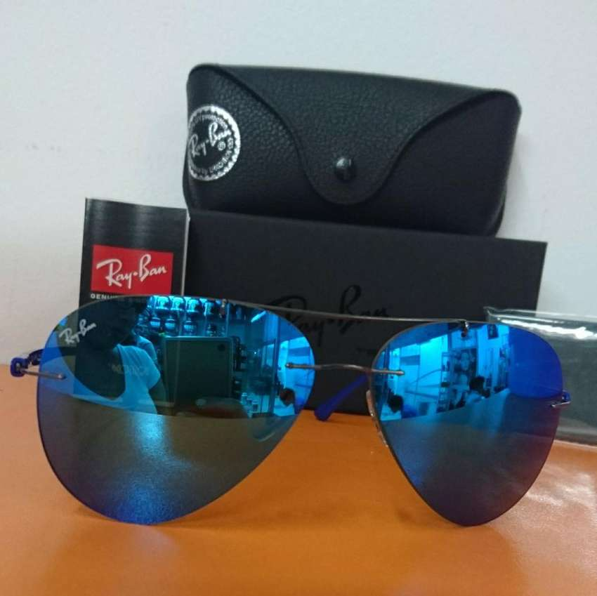 Lentes Ray Ban Azul Espejado Rb 8058 0