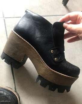 Zapatos Dama cuero Negro con Plataforma