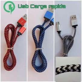 Cable usb tipo C reforzado carga rápida