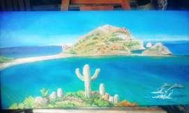 cuadro playa en algún lugar de México