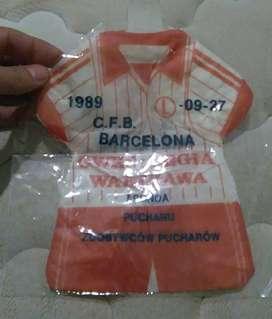 Antiguo souvenir Barcelona vs legia Varsovia Polonia Recopa 1989 tipo banderín camiseta
