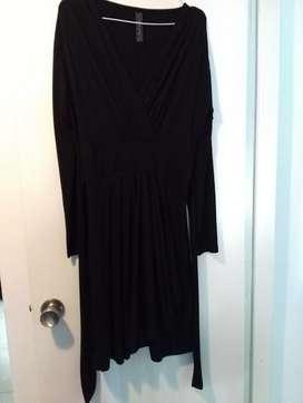 Vestido Modal Liso City Negro Mangas Largas Escote V Usado S