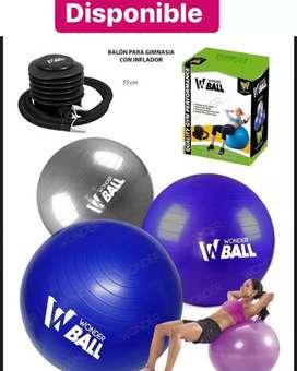 Balón para gimnasia con inflador 75Cm