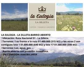 LA EULOGIA BARRIO ABIERTO EN SALTA-RUTA 51 LA SILLETA-INVERTI TUS AHORROS EN TU PRIMER TERRENO-ULTIMOS 3 LOTES DISPONIBL
