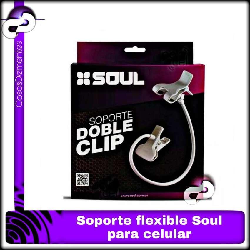 SOPORTE SOUL FLEXIBLE DOBLE CLIP PARA CELULARES 0