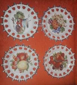 Juego De 4 Platos Decorativos Porcelana Japonesa. *2161