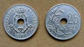 Moneda de 25 céntimos Bélgica 1908