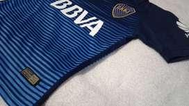 Camiseta Boca Jrs Niños Alternativa Azul y Celeste Temp 2016/17 estampada/sin estampar