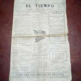 periodico antiguo el tiempo (1913)