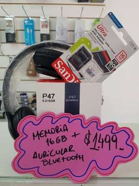 AURICULAR BLUETOOTH + MEMORIA 16GB