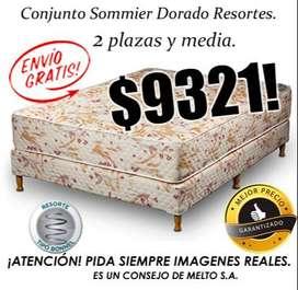 MEJOR PRECIO, ENVÍO GRATIS! SOMMIER MAS COLCHON 2,5 PLAZAS. RESORTES. SOMIER CAMA COMPLETO. MENDOZA