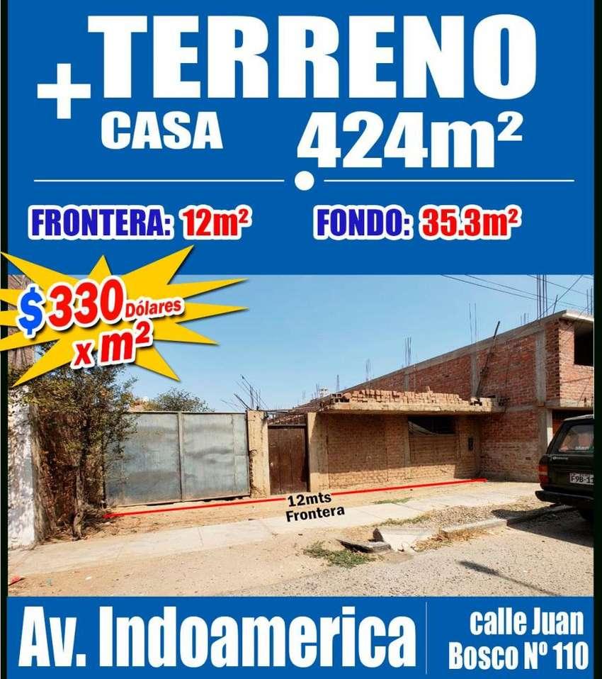 OPORTUNIDAD ÚNICA‼ Venta TERRENO de 424m², Paralela a la Av. INDOAMERICA,Trujillo (incluye casa) 0