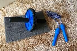 Kit rueda abdominal + cuerda de saltar + tapete