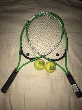 Vendo par de raquetas nuevas con 2 pelotitas originales usadas