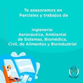 Te asesoramos en parciales y trabajos de ingeniería aeronáutica, ambiental, de sistemas, biomedica, civil, de alimentos