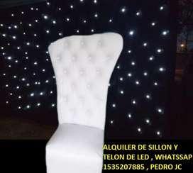 ALQUILER DE SILLON Y TELON DE LED , PARA FIESTAS