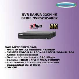 NVR 32CH DAHUA HASTA 8MP 4K NVR5232-4KS2 ALARMA AUDIO