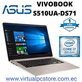 PORTATIL ASUS VIVOBOOK S510UA-DS71 CORE i7-8550U 1.8GHz 8GB RAM 1TB + 128GB SSD