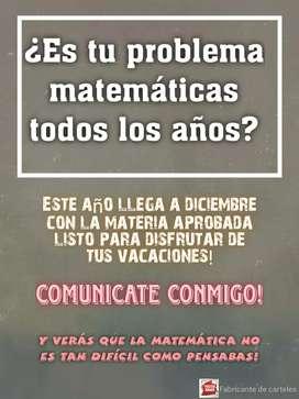 Clases particulares de Matemática (incluyendo preparación para el ingreso a la facultad)