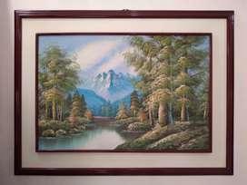 Hermoso cuadro de paisaje pintado al óleo