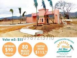 VENTA DE SOLARES A 30 MINUTOS DE PUERTO LOPEZ A 1 HORA DE MANTA, ENTRADA DE 90 USD, TODOS BENEFICIOS URBANISTICOS,S1