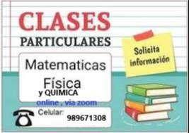 ASESORÍA Y CLASES PARTICULARES VIRTUAL MATEMÁTICAS, QUÍMICA,