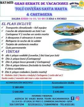 Tour remate de vacaciones  enero 14 y 21 santa marta, tolu y cartagena