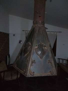 campana central artesanal de hierro forjado