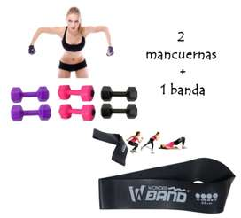 KIT Banda Cerrada con Mancuernas Pesas Ejercicio Fitness Funcional