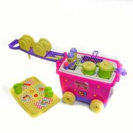 Cocina sobre ruedas para niña