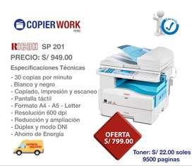 Fotocopiadora Impresora Ricoh 201 - 20 ppm -BLANCO Y NEGRO - 1 año GARANTIA - para negocio, notarias, bodegas